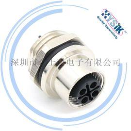 大电流M12 s-coded 4芯面板安装航空插头
