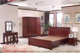 上海木言木语中式实木双人床高箱 储物床
