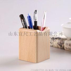 木质笔筒创意办公用品实木笔筒摆件