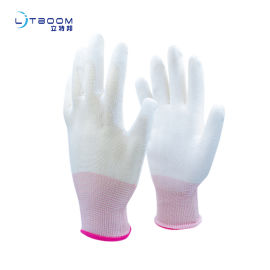 PU白涤纶浸掌 劳护手套 pu材质