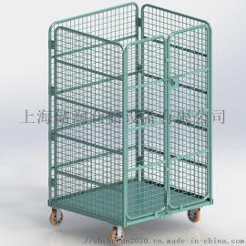 折叠物流台车 双开门L型折叠笼车