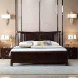 新中式實木牀簡約輕奢主臥1.8米雙人牀臥室禪意傢俱