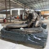 仿铜古代人物雕塑 公园人物玻璃钢雕塑