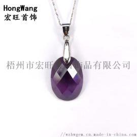 时尚紫色锆石宝石女项链吊坠简约个性礼物
