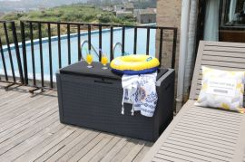 户外室外花园庭院塑料编藤带坐垫储物箱防水防紫外线