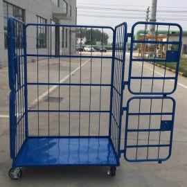 四门折叠物流台车手动平台车车间物料周转车移动笼车