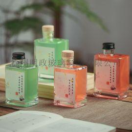 扁方形状果 瓶杨梅蓝莓青梅饮料奶茶玻璃瓶工厂定制