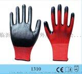 現貨紅紗黑丁青浸膠耐磨防滑透氣柔軟勞保防護手套