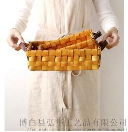 木片编织水果篮菜篮储物篮面包篮