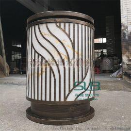 仿云石柱头灯扫古铜圆柱立柱灯小区门口落地灯