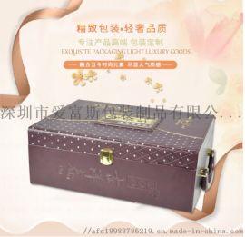 橘红色礼品盒定做 PU绒布工艺礼品酒盒 带锁手提两用礼品盒批发