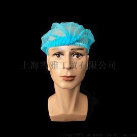厂家直销一次性蓝色条形帽工作帽厨帽浴帽