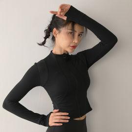 運動外套女緊身瑜伽服速幹長袖上衣