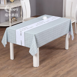 RNPT瑞年 供应简约格子桌布防水免洗PVC台布