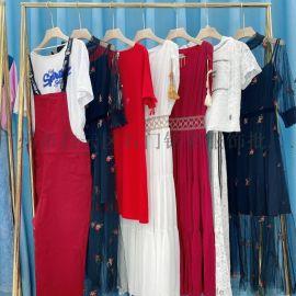 夏季新款时尚女装V领七分袖碎花连衣裙女