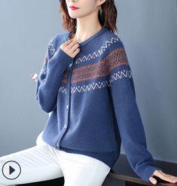 2020秋季新款圓領洋气女士針織小開衫复古风气质宽松針織上衣外套