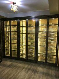 不锈钢展示柜加工厂, 拉丝玫瑰金不锈钢  柜