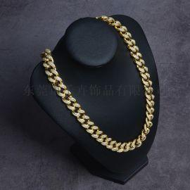 厂家直销欧美流行嘻哈饰品高品质12mm古巴钻链