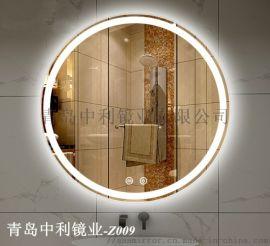 浴室发光化妆镜 防雾喷砂
