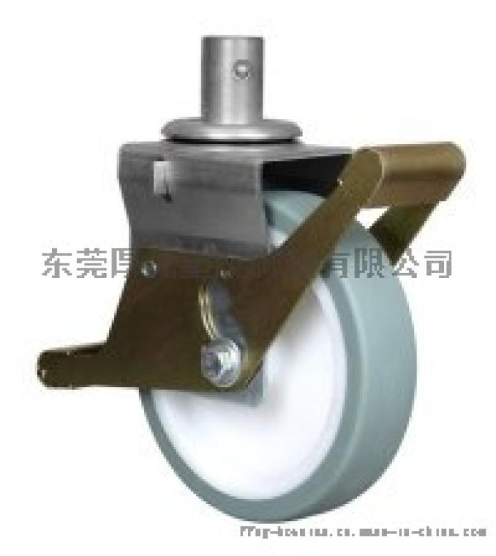 枣红PU8寸溶胶双刹欧式脚手架轮组