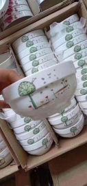 江湖地摊陶瓷餐具批发 碗碟盘彩瓷花瓷白瓷混批 厂家供应商