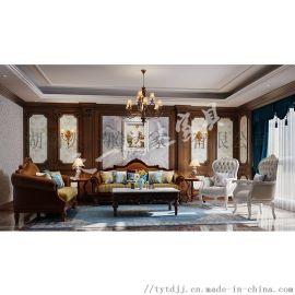 欧式真皮实木123沙发组合 长沙天一腾达家具 可定制