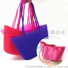 环保防水硅胶购物袋女士手提沙滩包硅胶手提袋可定制