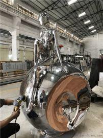 高科技镜面不锈钢机械姬雕塑作品工厂实拍