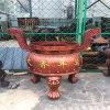 cd123鑄鐵圓形香爐,寺廟圓形六龍柱香爐供應廠家