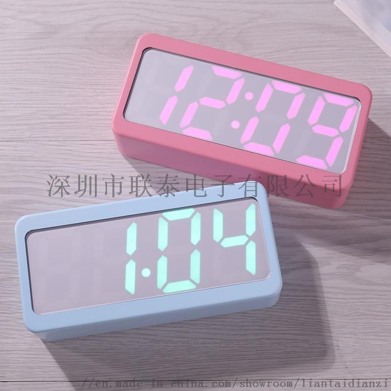 创意款七彩变色电子闹钟 万年历LED数字钟