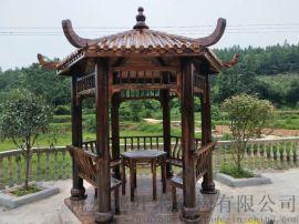 木结构六角凉亭 碳化木凉亭 防腐木户外凉亭