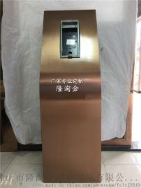 上海小区玫瑰金不锈钢门口机立柱的用途