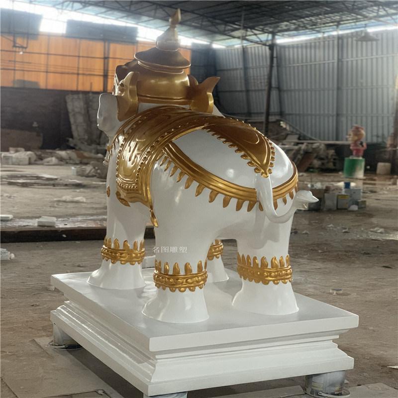 玻璃鋼金象雕塑 建築物入口吉祥擺件動物雕塑
