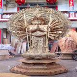 佛教木雕千手观音厂家,贴金千手观音木雕佛像雕刻厂家