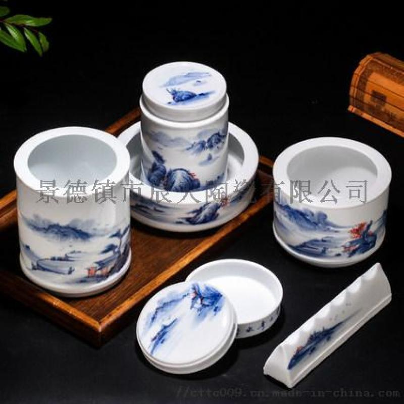 廠家定製辦公陶瓷三件套組合  青花手繪套裝