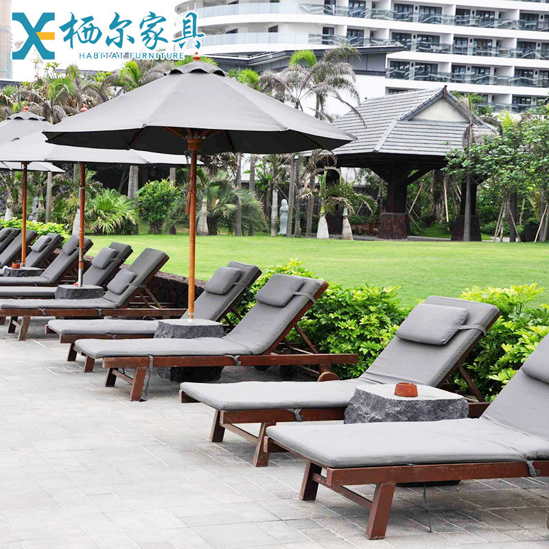 户外实木躺椅二折躺椅室外阳台露天泳池海边酒店沙滩椅