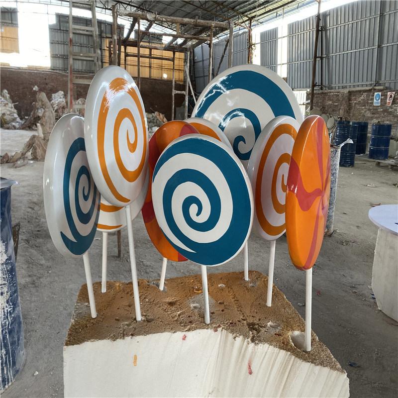 玻璃钢雕塑模型地产楼盘糖果主题玻璃钢波板糖雕塑