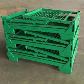 折疊鐵箱歐式倉儲籠半開門可堆垛折疊式金屬周轉箱