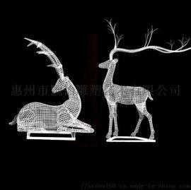 鐵藝鏤空鹿雕塑/動物雕塑/城市廣場大型雕塑