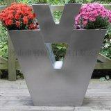 圓形不鏽鋼花盆花器定製加工廠家戶外大花箱花器