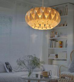 東南亞風格天然木皮蝴蝶吊燈