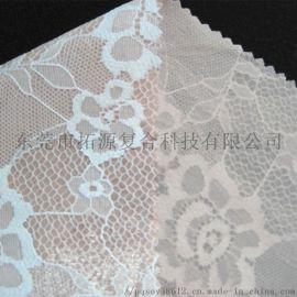 女装蕾丝花边复合面料_白色蕾丝复合印花布
