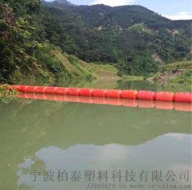 人工湖水上编织袋拦截浮排调试下水漂浮厂浮筒
