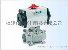 广腾JLQ6气动三块式内螺纹,卡箍,接管焊接球阀