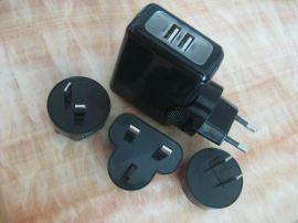 2.1a双USB充电器 同时为iPad和iPhone或者两部平板电脑供电 欧/美/英/澳/韩/日/巴西规插头可以转换
