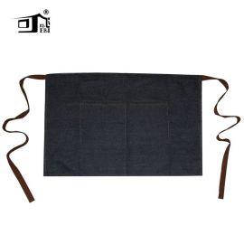 围裙定制 牛仔腰部半身服务员工作时尚围裙 围裙外贸出口亚马逊