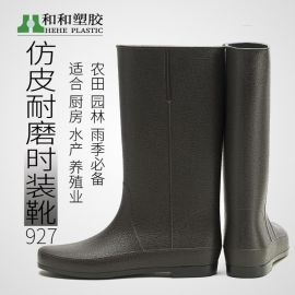 新款時尚雨鞋女防水高筒雨靴防滑長筒水鞋仿皮韓版款成人水靴批發