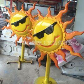 玻璃鋼仿真花卉卡通定制玻璃鋼卡通動漫道具定制加工太陽花雕塑