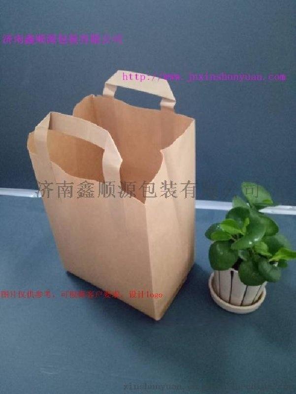 廣州牛皮紙扁手提袋購物袋  外賣打包手提袋牛皮紙袋定做