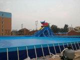 海南三亚水上乐园支架游泳池厂家定做充气水滑梯热卖款